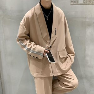 2020 Autumn And Winter New Youth Popular Solid Color Loose Single Button Suit Fashion Casual All-match Jacket Black khaki purple