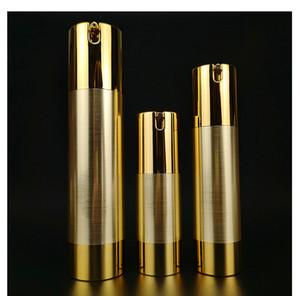 15 ml 30 mi 50 mi 80 mi 100 mi havasız plastik pompa şişe sıcak damga altın krem kap uçucu yağ alt şişe DHF2385
