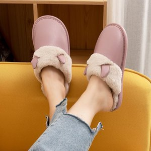 Mazefeng Brand Woman Winter Slippers with Fur Women PU Leather Waterproof Warm Home Slipper Male Indoor Cotton Flip Flops Shoes