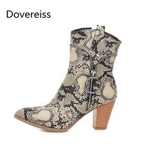 Chaussures Dovereiss Mode femme d'hiver Pointu talons bloc Zipper Serpentine bottes courtes de grande taille 47