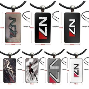 For Women Christmas Gift Fashion Glass Cabochon Pendant Necklace Women Steel Color Choker Rectangle Necklace Mass Effect N7 Logo