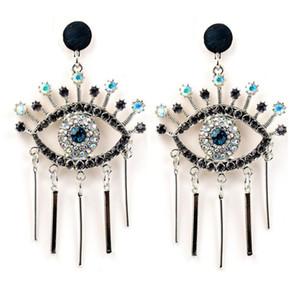 Fashion exaggerated famous brand designer Devil's Eye Earrings Alloy Fringe with Diamond Blue Eye Stud Earrings