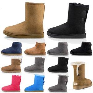 Frauen Schneeschuhe Mode Winter Boot Classic Mini Knöchel kurze Damen Mädchen Womens Booties Triple Black Chestnut Navy Blau