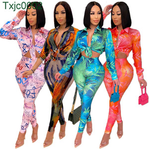 Women Desingner Clothes 2021 New Tracksuits Spring Pattern Letters Printed Tie Dye Suit Shirt Two Piece Set Ladies Fashion Outfits
