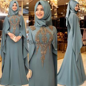 Elegante caftano Dubai sera musulmani vestiti da promenade collo alto 2020 rilievo partito convenzionale abiti Senza Hijab vesti de soiré