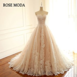 Rose Moda Luxury Blush Pink Dress French Wedding with Train Lace Up Back Bridal Dresses Q1113