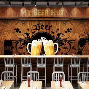 Custom 3D Photo Wallpaper Beer Hut Wooden Board Poster Wall Painting Restaurant KTV Bar Tooling Mural Wallpapers For Living Room