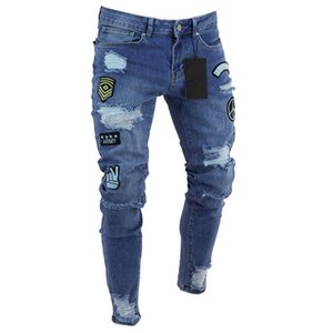 Embroidery Patches Badges Jeans Men Ripped Punk Skinny Hole Knee Denim Trousers Men's Destroyed Frayed Pants