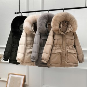 DEAT Inverno Nuovo Hoody manica lunga Office Lady lunghezza media spesso strato Donne Bianco anatra Down Jacket RC079 201103