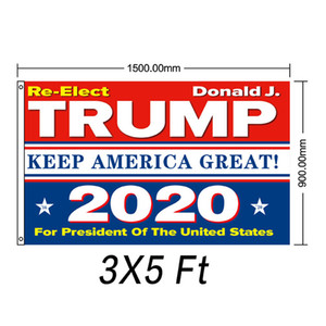 Flags Wholesale Trump 3x5 ft Cheap Polyester Printing 2020 American Election Support Flag Banner Train Tank Rambo Women