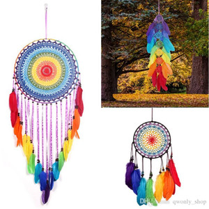 Rainbow Color Lace Crochet Dreamcatcher Circular With Colorful Feather Wind Chimes Handmade Dream Catcher Wall Hanging Decoration Ornament