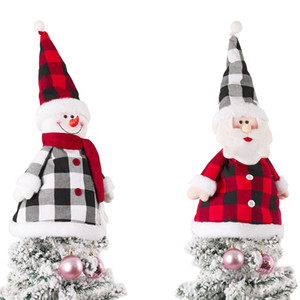 Christmas Tree Topper Top Hat Buffalo Plaid Santa Snowman Ornaments For Xmas Holiday Party Home Decorations JK2011XB
