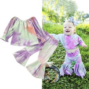 Baby Girl Tie-dye Impresso Moda Suit mangas compridas + Flared Calças elástico Lotus Folha Crianças roupa do outono Set frete grátis