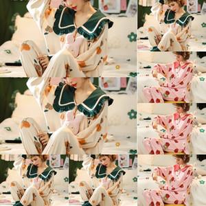LeoQ Marca seda impresa flor dormir Set diseñador Diseñador Pareja Inicio Ropa pijamas camisón suave minionsleepwear exclusivo l