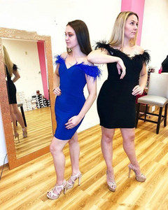 Modern Royal Blue Black Feather Cocktail Prom Dress Short Off shoulders 2021 with Sleeves Satin Cheap Designer Homecoming Party Dress Cheap