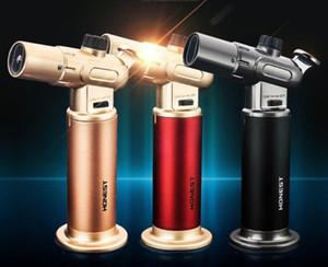 Encendedor de butano recto a la pistola encendedor creativo inflable de alta temperatura de pulverización doble / laboratorio sola llama, soldadura, construcción