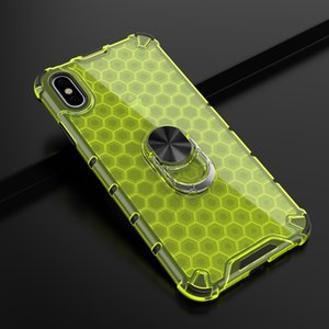 Honeycomb Rugged Armor Ring Stand Shockproof Case For iPhone XS Max Hard Shell For iPhone 11 Pro Max 8 7 6S 6 Plus Back Cover