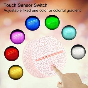 Titular Luz LED 3D com controle remoto cabo USB Toque Lamp Base para LED Night 3D Luz de substituição 7 coloridos bases de luz de mesa LED Base de Dados