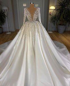2020 White Satin Turkish Wedding Dresses Dubai Arabic Long Sleeve Bridal Gowns Beaded Crystal Bride Dress Middle East