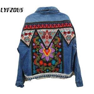2020 Catene paillettes dei jeans del rivestimento del cappotto Donne Heavy Fiore ricamo denim cappotti Lady Streetwear allentato Giacche Primavera Autunno