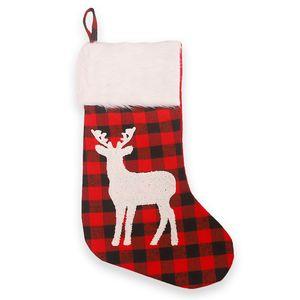 Christmas Plaid Print Stocking Socks Red Black Plaid Candy Gift Bags Xmas Tree Hanging Ornament New Year Christmas Tree Decor BEE3105