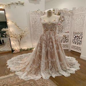 Real Image Plus Size Beach Wedding Dresses Boho A Line Sleeveless Full Appliqued Lace Bridal Gowns Bohemia Custom Made Robes De Mariée
