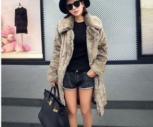 Brand New Womens Casual Jacket Large Size Female Long Section Grey Plus Size Winter Autumn Fashion Fur Overcoats J1549