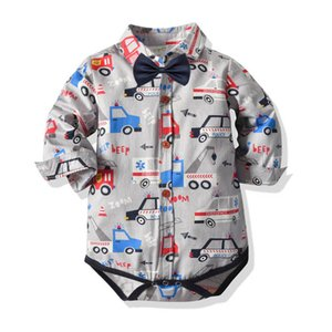 Cartoon car baby romper cotton bow tie gentleman newborn rompers boys romper toddler jumpsuit baby boy clothes Infant clothes 0-2Y B2500