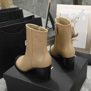 2020 autumn and winter new ladies fashion elegant warm thick heel leather boots trend all-match wear-resistant comfortable high heels