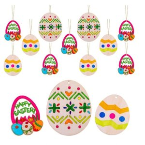 Easter Decorations Pendant 10Pcs DIY Carved Egg Hanging Pendants Ornaments Creative Wooden Craft Party Favors 27 p2
