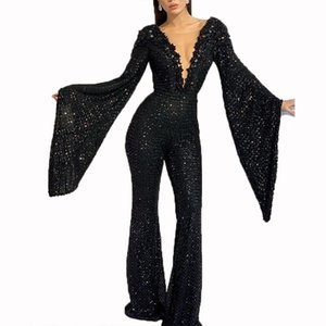 STYLISH LADY Black Glitter Sequin Rompers and Jumpsuits 2020 Autumn Women Batwing Sleeve Deep V Neck Bodycon Club Party Overalls