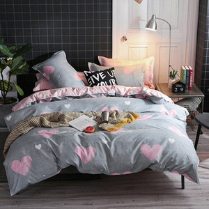 Big Deal grauer Winter Tröster Bettwäsche-Sets Hochzeit Heimtextilien Bettwäsche Pink Love Big Doppelbett Bezug-Set für Mädchen lbkn #