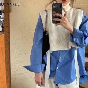 Женские жилеты свитер жилет женские шикарные шнурки водолазки колледжа Harajuku подростки без рукавов вязаный трикотаж All-Match Ladies Streetwear Ins1