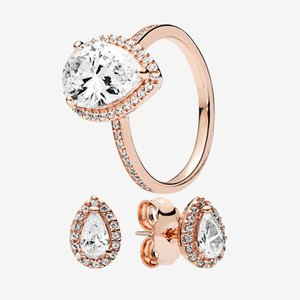 Luxury 18K Rose gold Teardrop RING & Earrings set Original box for Pandora Real 925 Silver Women Wedding Gift tear drop rings Stud EARRING