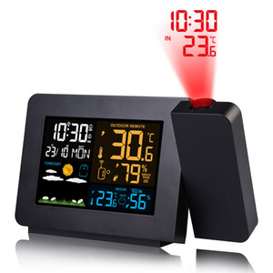 FanJu Digital Alarm Clock Weather Station LED Temperature Humidity Weather Forecast Snooze Table Clock With Time Projection