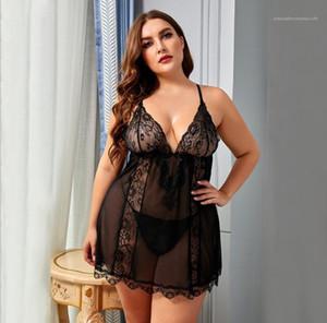 Nightgowns V Yaka Kaşkorse Seksi Sleepshirts Artı Boyutu Pijama Bayan Tasarımcı Iç Çamaşırı Yaz Ev Giyim Kolsuz Dantel