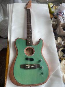 Custom Shop Acoustasonic Tele sónico de cetim verde da guitarra acústica elétrica Polyester Satin Matte Finish spurce Top Dot embutimento, Chorme Hardwa