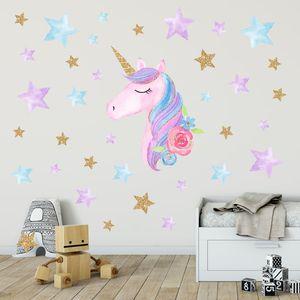 Единорог Стена Переводные картинки Unicorn стикер стены Декор Радуга цвета Наклейки на стены День рождения Рождественские подарки для мальчиков для девочек Детская Спальня Декор HWA2046