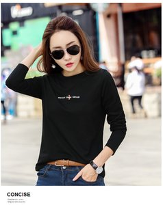 In the spring and autumn is natural pure cotton long sleeve T-shirt yards loose embroidery cotton render unlined upper garment 201013