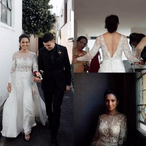 Rustic Boho Country Wedding Dresses Sexy Backless Lace Bohemain Wedding Dress A Line Chiffon Side Slits Bridal Gowns 2020 vestidos de novia