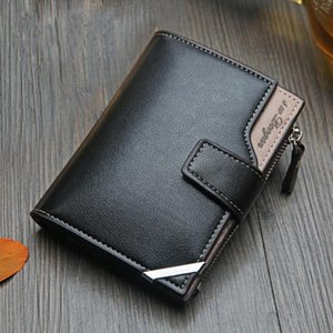 New Business mens wallet Short vertical Male Coin Purse casual multi function bag zipper buckle triangle folding