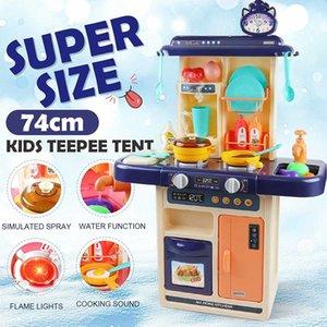 28pcs I bambini Finta Play Simulazione Kitchen Set Cuoco Gioco miniatura Alimentazione Mini Stoviglie Spray giocattolo della luce bambini regalo LJ201009