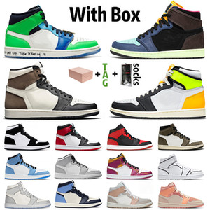 Com Box Stock x Jumpman 1 Retro Off White 1S Mens Womens Basketball Shoes Branco Off Off Sight Mid Milan Treinadores retro esportes sneakers
