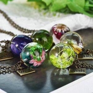 2020 Новая мода смола прозрачные украшения оригинальные ручной работы натуральные гипсофилы смешанные высушенные цветы ожерелья подвески для женщин