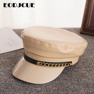Berets Fashion Hat Autumn Winter Sailor For Women Men Flat Top Captain Cap PU Leather Beret Korean Navy