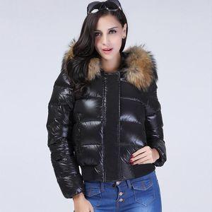 Janveny Водонепроницаемая вниз пальто зимы женщин Puffer Блестящая куртка 2020 Природные шерсти енота с капюшоном Короткие 90% белая утка вниз Parkas