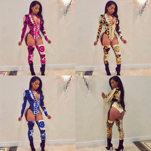 New women's printed zipper buckle strap Jumpsuit sexy costumes Hot Sale Free shipping