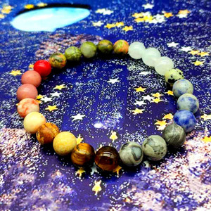 dropship 10mm Universe Planets Solar Natural Stone Beads Bracelet Bangle for Women Men Gift Chakra Yoga Bracelet Jewelry