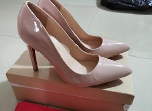 Üst Kalite 2021 kadın Wedding Yüksek Topuklar sivri ayak seksi kırmızı tabanlar tasarımcıları Sole 8 ile 10 cm 12cm Logo Ayakkabı 688xx ile gel Pompalar