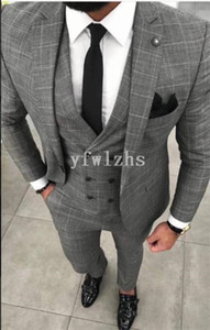Classic One Button Handsome Groomsmen Notch Lapel Groom Tuxedos Men Suits Wedding Prom Best Man Blazer ( Jacket+Pants+Vest+Tie) W620